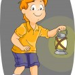Boy Carrying a Kerosene Lamp — Stock Photo
