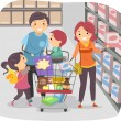 Stickman Family Shopping in a Grocery Store — Stock Photo