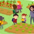Stickman Kids School Trip to Vegetable Garden — Stok fotoğraf