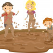 Stickman Family Playing in the Mud — Stock Photo