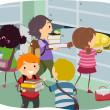 Stickman Kids at Locker — Stock Photo