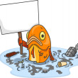 Stock Photo: Sad Fish in Polluted Water With Blank Board