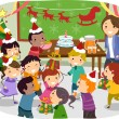 Stickman Kids School Christmas Party — ストック写真