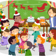 Stickman Kids School Christmas Party — Stock Photo