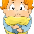 Kid Boy Crying in Pillow — Stock Photo