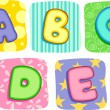 Quilt Alphabet Letters A B C D E — Stock Photo