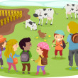 Stickman Kids School Trip to Farm — Stock Photo