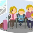 Stickman Family in an Airport — Stock Photo