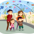 Stickman Family Visiting an Oceanarium — Stock Photo