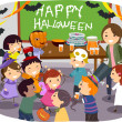 Stock Photo: Stickman Kids School Halloween Party