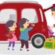 Stickman Family Travelling by Car — Stock Photo