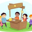 Stickman Kids on a Lemonade Stand — Stock Photo