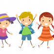 Stickman Kids in Summer Outfit — Stock Photo