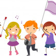 Stickman Kids Marching Band — Stock Photo