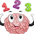 Brain Mascot with Numbers 123 — Foto de Stock