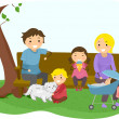 Stickman Family Bonding at the Park — Stockfoto