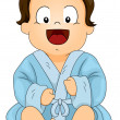 Baby Boy Wearing a Blue Bathrobe — Stock Photo