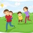 Stickman Family Running on the Hills — 图库照片