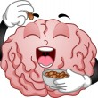 Brain Mascot Eating Peanuts — Stock Photo