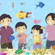 Stickman Family Looking at an Aquarium — Stok fotoğraf