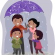 Stickman Family in Under an Umbrella in the Rain — Stock Photo #32058967