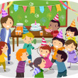 Stickman Kids School Birthday Party — Stock Photo