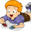 Kid Boy Playing Toy Car — Stock Photo
