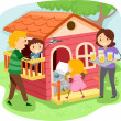 Stickman Family in a Playhouse — Stock Photo