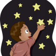 Kid Boy with Glow-in-the-Dark Stars — Stock Photo