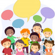 Stickman Kids with Blank Speech Bubbles — Stock Photo #32059043