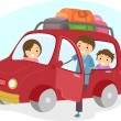Stock Photo: Stickman Family Traveling in a Car