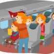 Stickman Family Inside an Airplane — Stock Photo