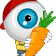 Eyeball Mascot Carrying a Carrot — Stock Photo