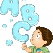 Toddler with ABC Bubbles — Stock Photo