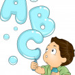 Stock Photo: Toddler with ABC Bubbles