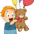 Illustration of Kid Boy with Balloons and Stuff Toy — Stock Photo