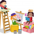Stock Photo: Stickman Kids making Arts and Crafts