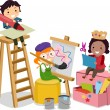 Stickman Kids making Arts and Crafts — Stock Photo #32059189