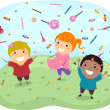 Stickman Kids Catching Sweet Candies and Lollipops — Stock Photo