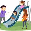 Stickman Family in Playground Slide — Stock Photo