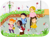 Stickman Kids School Trip at Butterfly Garden — Stock Photo
