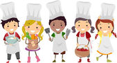 Illustration of Stickman Kids as Little Chefs — Stock Photo