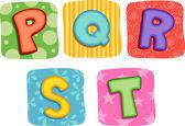Quilt Alphabet Letter P Q R S T — Stock Photo