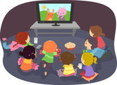 Stickman Kids Watching Cartoons — Stock Photo