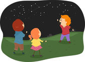Stickman Kids Studying Constellations — Stock Photo