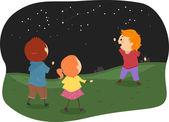 Stickman Kids Studying Constellations — Stock Photo