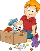 Kid Boy Storing Toys — Stock Photo
