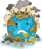Crying Earth Due to Pollution — Stock Photo
