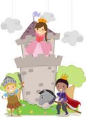 Stickman Kids in Princess and Knights School Play — Stock Photo