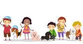 Stickman Kids with Pet Dogs — Stock Photo
